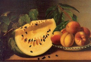 Peale, Margaretta Angelica (American, 1795-1882)1 watermelon and peaches