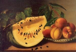 Peale, Margaretta Angelica (American, 1795-1882)1 watermelon and peaches