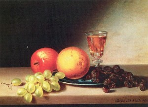 Peale, Sarah Miriam (American, 1800-85)3 fruit and wine