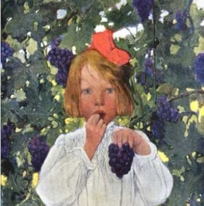 Stilwell girl with grapes snip